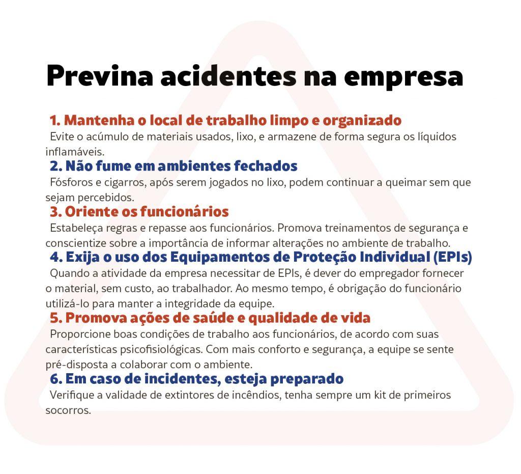 Infográfico sobre prevenção em acidentes empresariais.